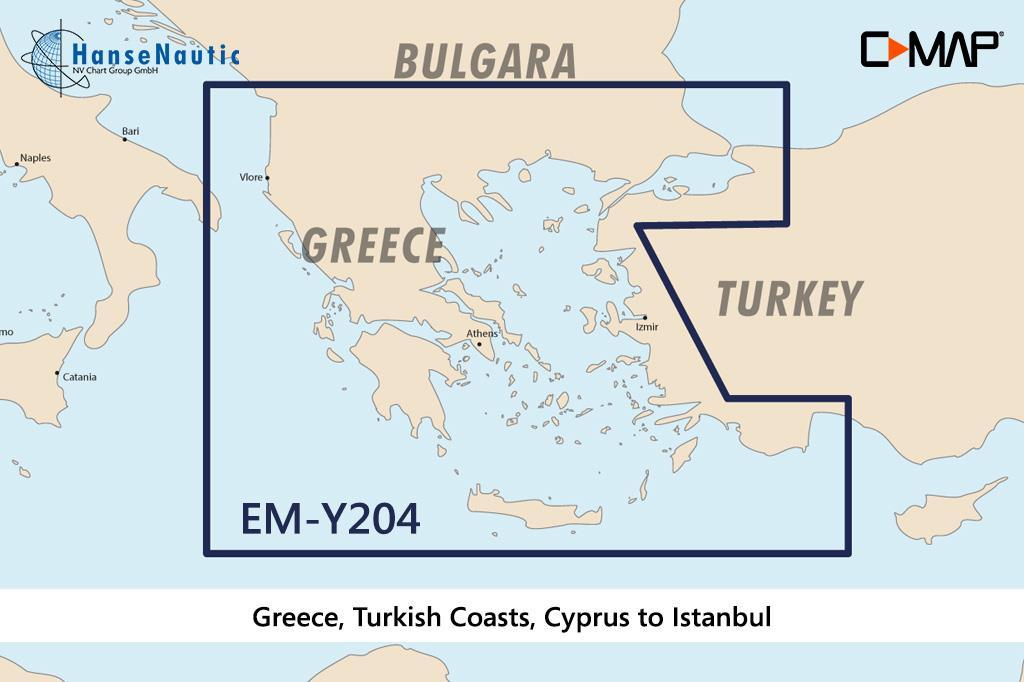 C-MAP Discover Ägäis Griechenland türk. Küsten Kreta bis Istanbul EM-Y204