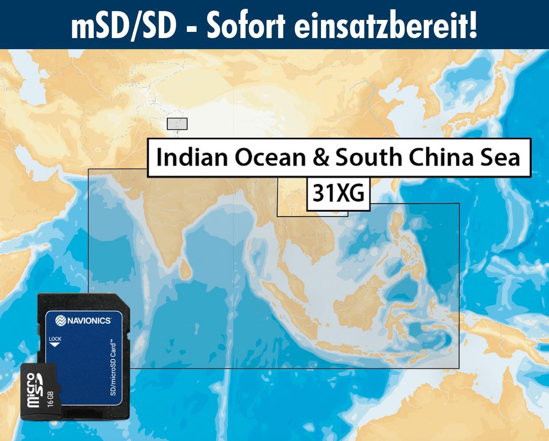 Navionics+ preloaded 31XG mSD INDIAN OCEAN & SOUTH CHINA SEA