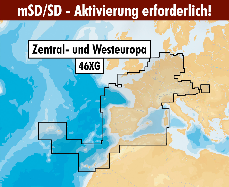 Navionics+ Update 46XG West- und Mitteleuropa mSD