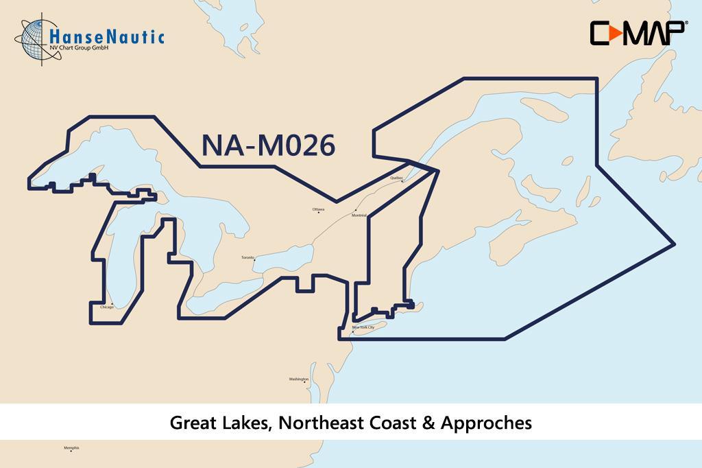 C-MAP MAX Wide NA-M026 Great Lakes NE Coast & Appr.
