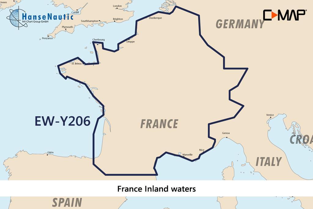 C-MAP Discover Frankreich Binnengewässer französische Kanäle u. Flüsse EW-Y206