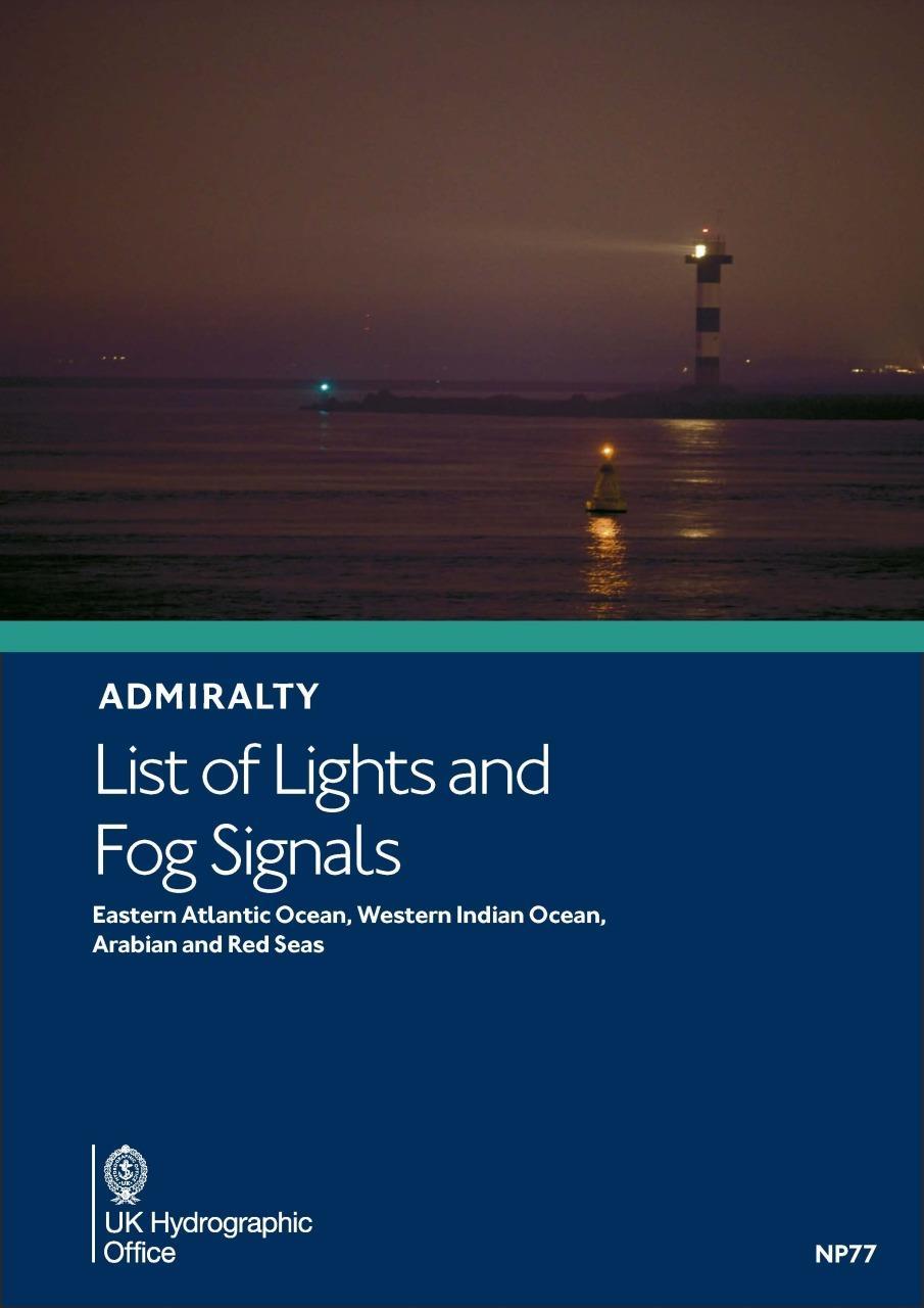 ADMIRALTY NP77 Lights List Vol D - E Atlantic W Indian Ocean Arabian & Red Seas