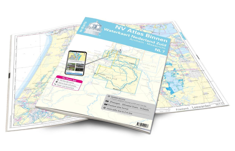 NV Atlas Binnen NL7 - Waterkaart Nederland Zuid - Arnhem - Maastricht
