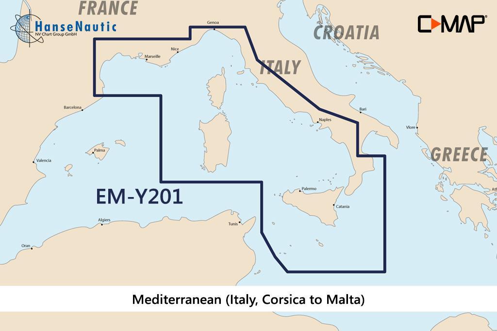 C-MAP Discover Mittelmeer Italien (Korsika bis Malta) EM-Y201