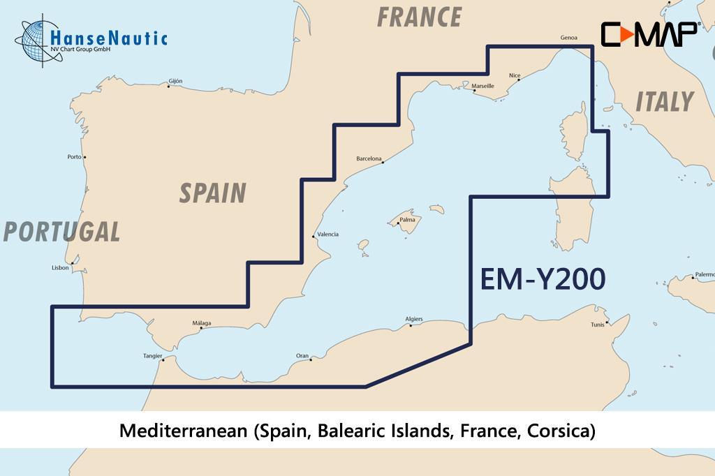C-MAP Discover Mittelmeer West (Spanien Balearen Frankreich Korsika) EM-Y200